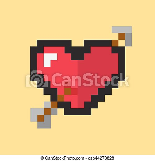 Coeur Style Vecteur Pixel Rose Coeur Style Heart Image Couleur Perce Valentines Seamless Pixel Day Arriere Canstock