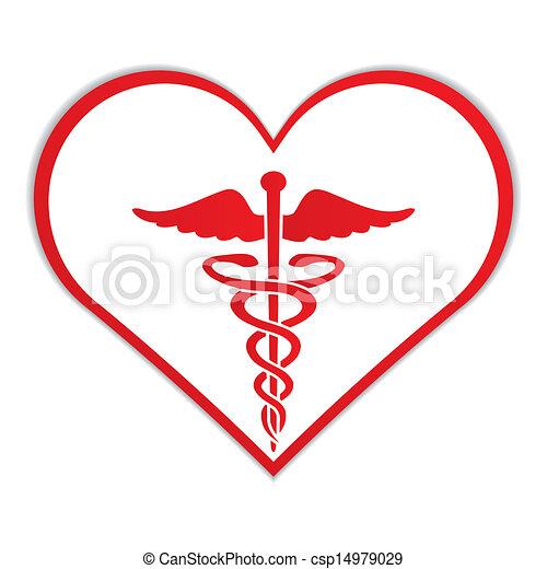 coeur, symbole, caducée, monde médical - csp14979029