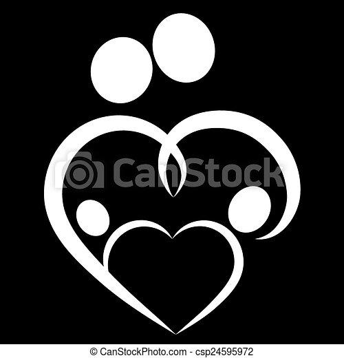 coeur symbole famille coeur vecteur famille symbole. Black Bedroom Furniture Sets. Home Design Ideas