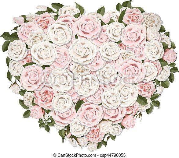 Coeur Symbole Fleurs Forme Rose Coeur Salutation Rose