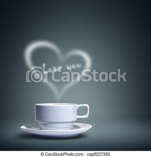 coeur, tasse à café, formé - csp8237350