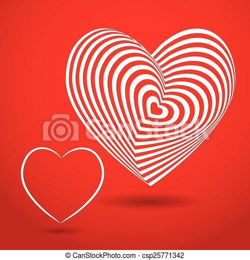 Coeur Vecteur Tridimensionnel Volume Arrière Plan Optique Blanc Illusion Rouges 3d