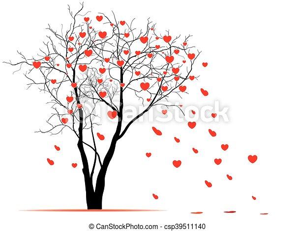 coeur, vecteur, wind., soufflé, feuilles, formé, arbre, valentin, arbre., jour - csp39511140