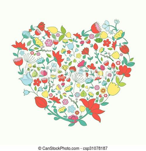 Coeur Vif Couleur Illustration Vecteur Fleurs