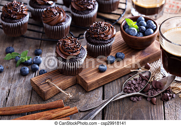 Coffee and chocolate cupcakes - csp29918141