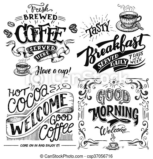 Coffee and cocoa for breakfast hand lettering set - csp37056716