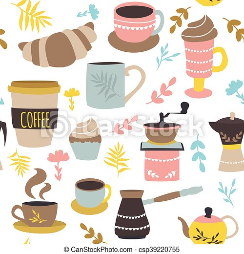 Coffee And Pastry Seamless Pattern - csp39220755