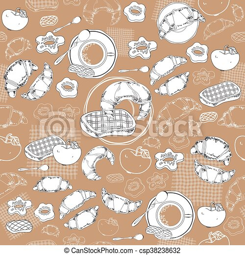 coffee and pastry seamless pattern trendy template for flyers