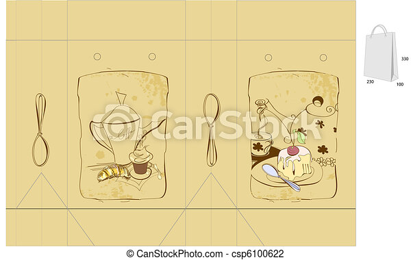 Coffee and sweets. Template for bag - csp6100622