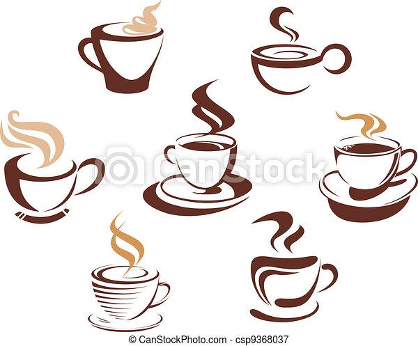 Coffee And Tea Cups Symbols For Fast Food Design Vectors