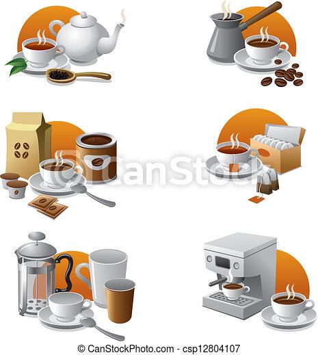 coffee and tea icon set - csp12804107