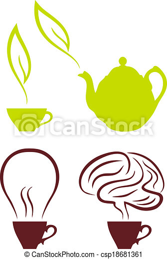 coffee and tea vector set coffee cup with bulb and brain tea with green leaf set of vector drawings https www canstockphoto com coffee and tea vector set 18681361 html
