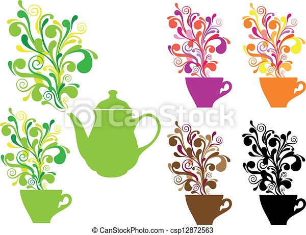 coffee and tea with swirls, vector - csp12872563