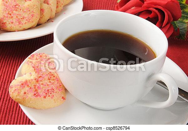 Coffee and Valentines Cookies - csp8526794