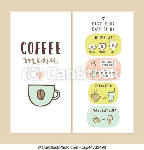 Coffee Bar Menu Template Make Your Own Drink Can Be Used  Eps