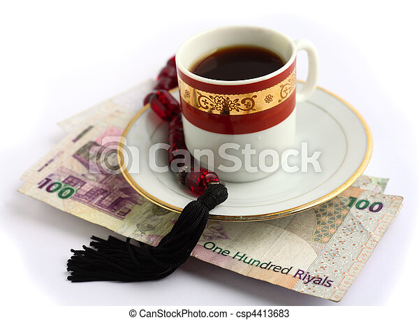 Coffee beads and cash - csp4413683