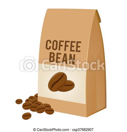 Coffee bean in brown paper bag packaging. Vector stock of ...