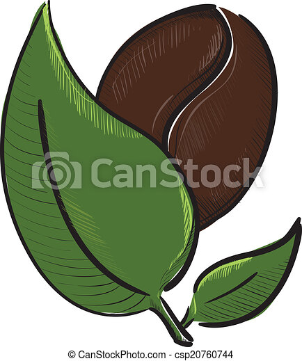 Coffee bean with leaves isolated on white - csp20760744