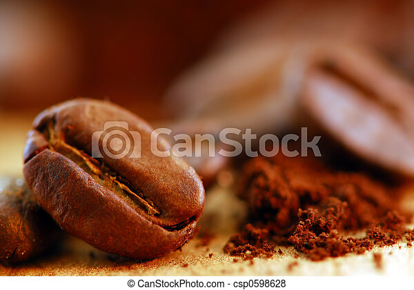 Coffee beans and ground coffee - csp0598628