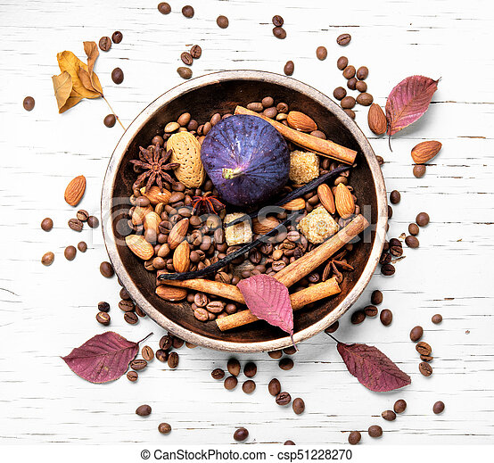 coffee beans and mix spices - csp51228270