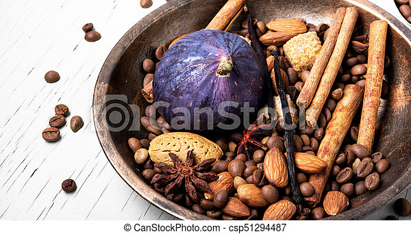 coffee beans and mix spices - csp51294487