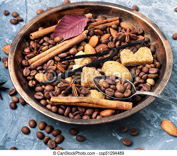 coffee beans and mix spices - csp51294489