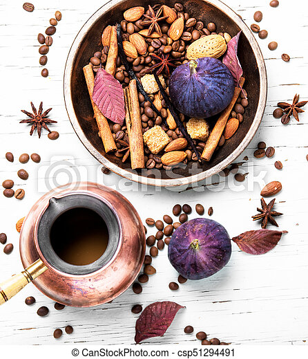 coffee beans and mix spices - csp51294491