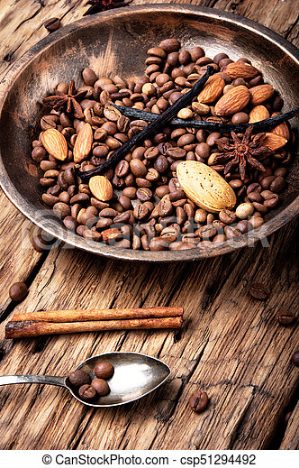 coffee beans and mix spices - csp51294492