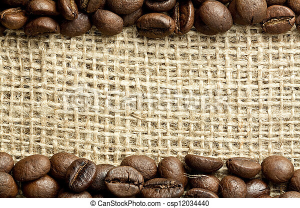 coffee beans on burlap - csp12034440