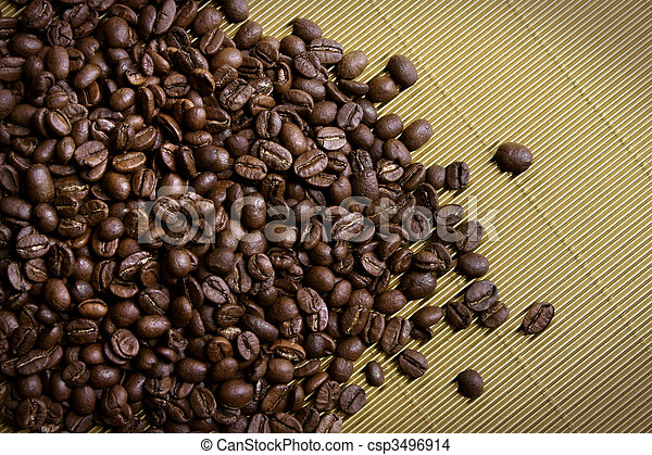 Coffee beans on gold - csp3496914