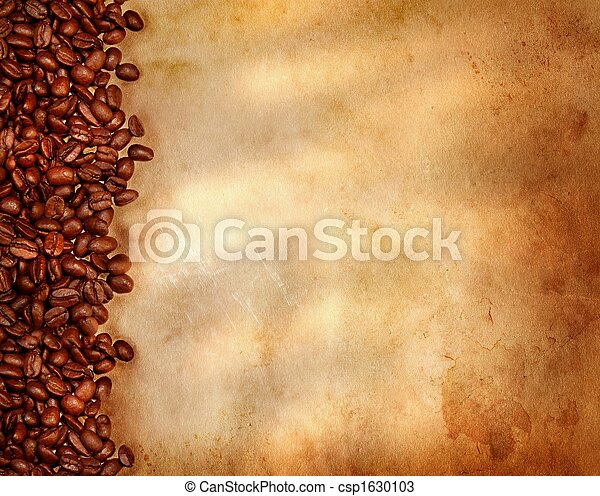 Coffee beans on old parchment paper - csp1630103