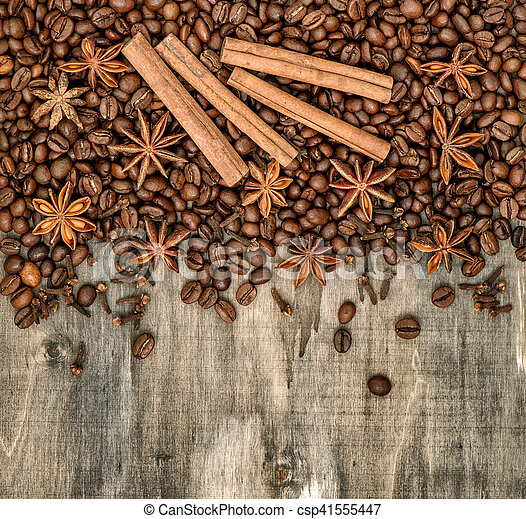 Coffee Beans Spices Cinnamon Cloves Star Anise Wooden Background