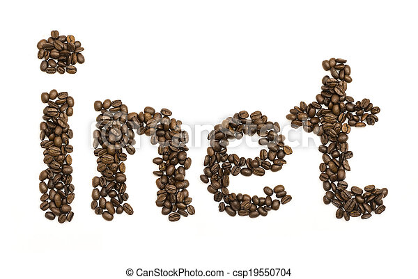 Coffee beans stacked to form the word inet - csp19550704