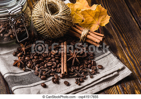 Coffee Beans with Autumn Leaves - csp41517655