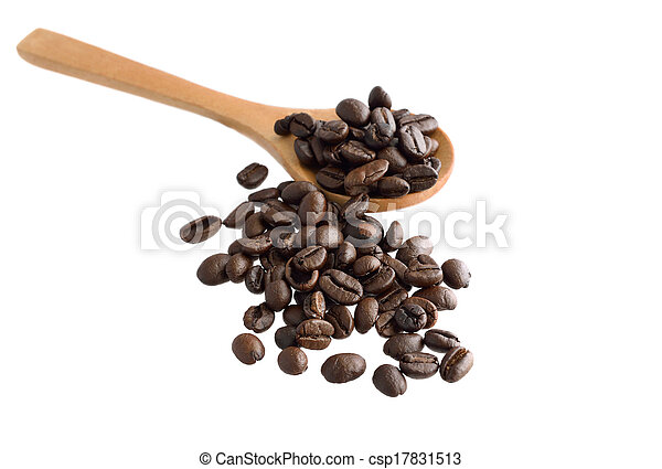 Coffee beans with wooden spoon - csp17831513