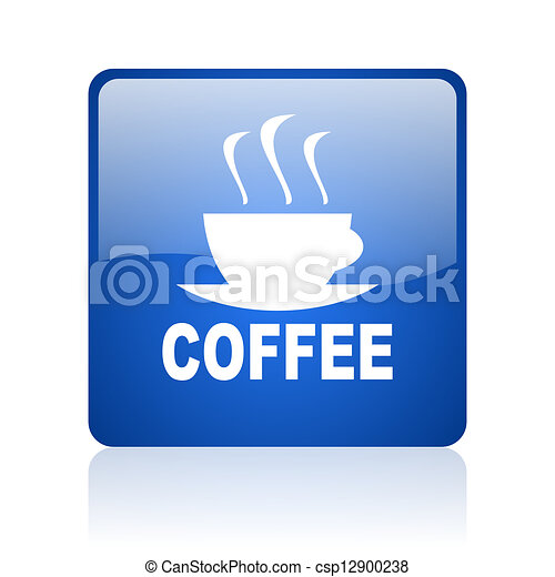 coffee blue square glossy web icon on white background - csp12900238