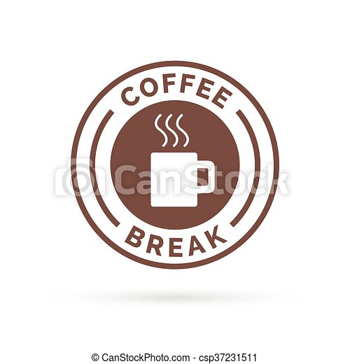 Coffee Break Badge With Brown Steaming Mug Icon Silhouette