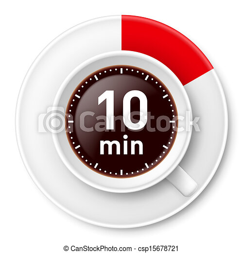 Coffee break. Cup of coffee with time limit for break: ten ...