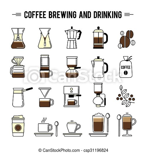 coffee brewing methods icons set different ways of making coffee pot clipart free Funny Morning Coffee Clip Art