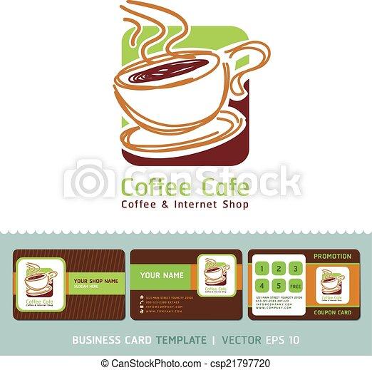 Coffee cafe business cards design coffee cafe icon logo and coffee cafe business cards design csp21797720 colourmoves