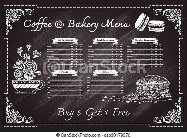 Coffee Cafe Menu On Chalkboard Design Template