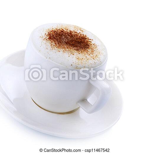 Coffee Cappuccino or Latte over white - csp11467542
