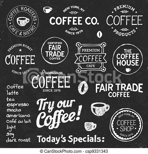 Coffee Chalkboard Text And Symbols Set Of Coffee Shop Sketches And