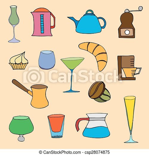 Coffee collection. Vector illustration - csp28074875