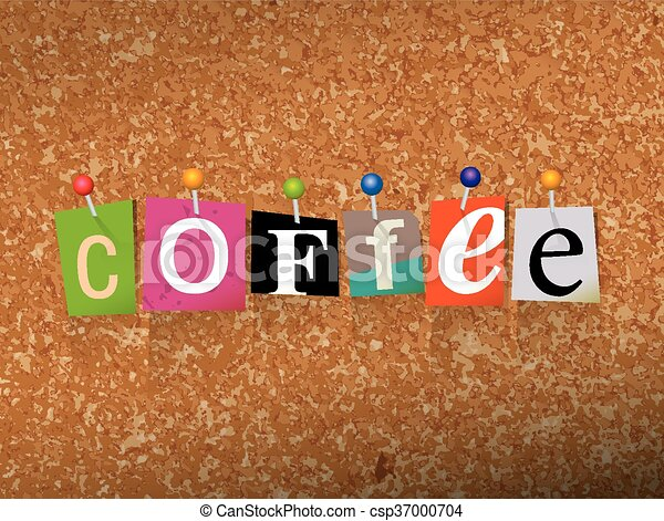 Coffee Concept Pinned Letters Illustration - csp37000704