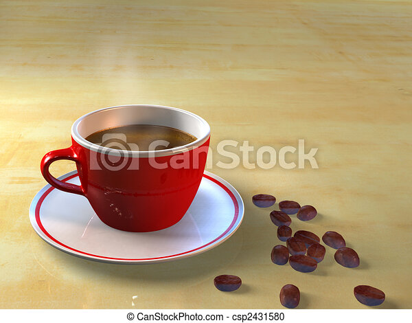 Coffee cup and coffee beans - csp2431580