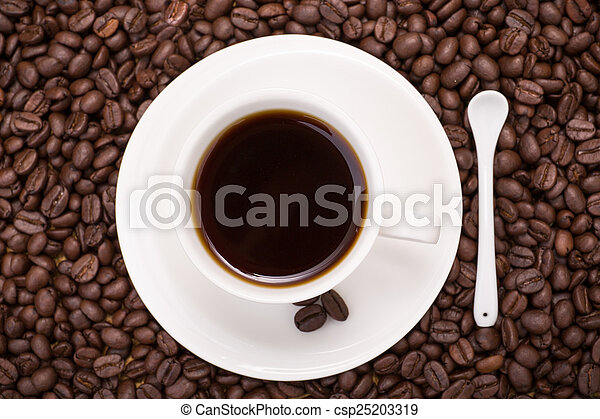 coffee cup and coffee beans - csp25203319