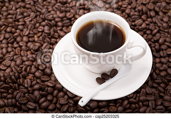 coffee cup and coffee beans - csp25203325