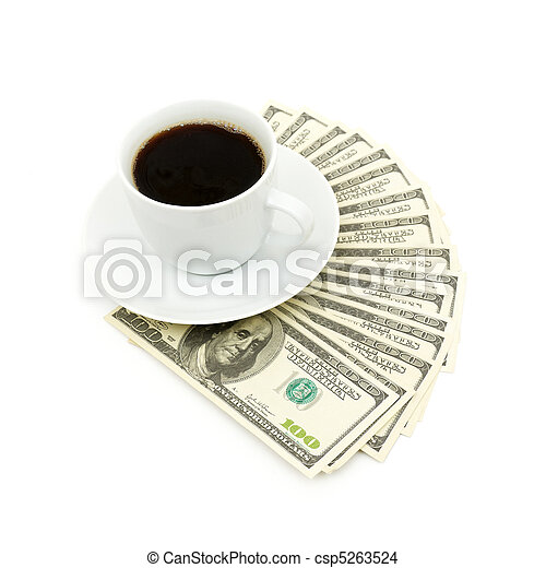 Coffee cup and dollar close up - csp5263524