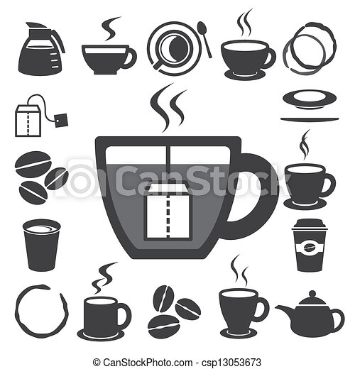 Coffee cup and Tea cup icon set.Illustration - csp13053673
